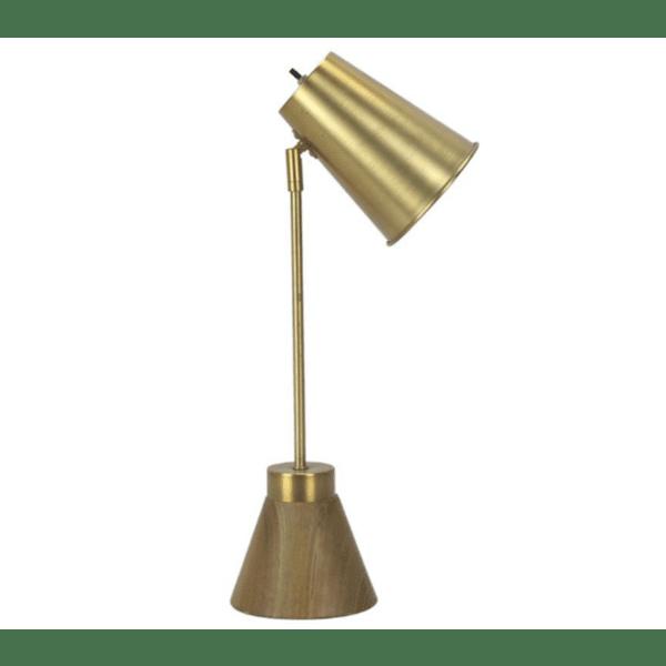 Метална настолна лампа цвят злато 18х25х56см