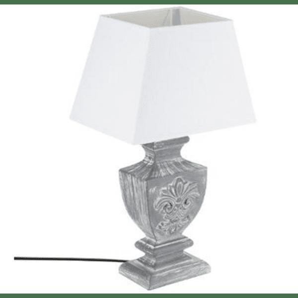 Настолна лампа Socoro цвят сив античен шапка бяла