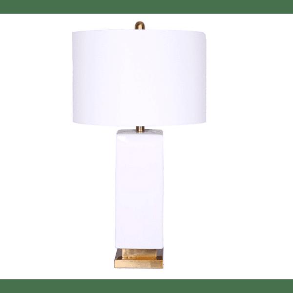 Керамична настолна лампа-бяла 36x36x69см