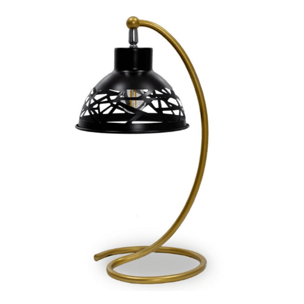 Настолна метална лампа PWL-0026-черен-златист цвят