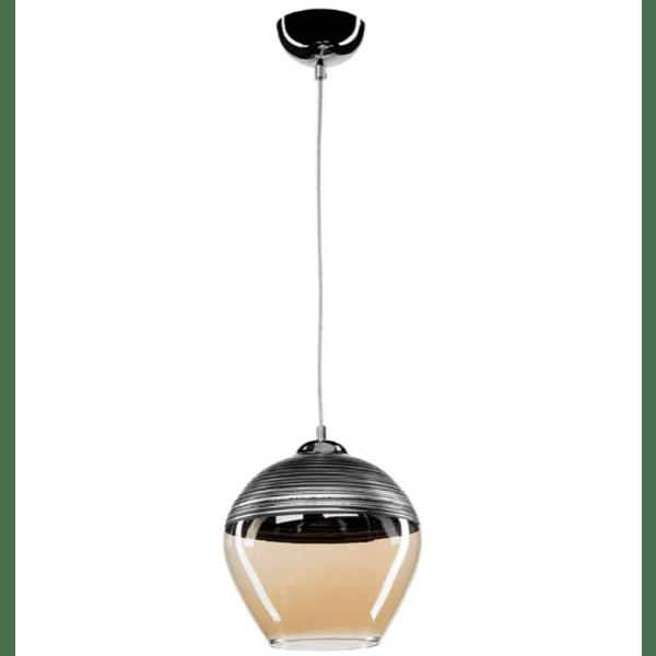 Таванна лампа PWL-0955 антрацит-стъкло бежово Φ19x90см