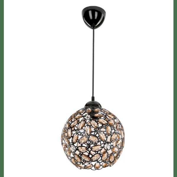 Таванна лампа PWL-0958 черна с кристали Φ23x71см