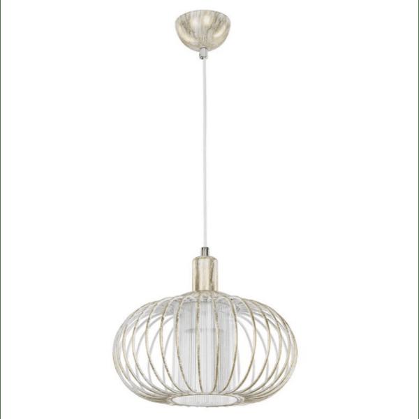 Таванна лампа PWL-0957 бяло-златно антично Φ29x94см