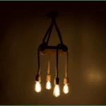 Четирисветлинна таванна лампа PWL-0108 орех - естествен - черен 24x24x102cm