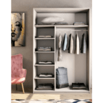Двукрилен гардероб Pallas бяло-сив 150х60х225см