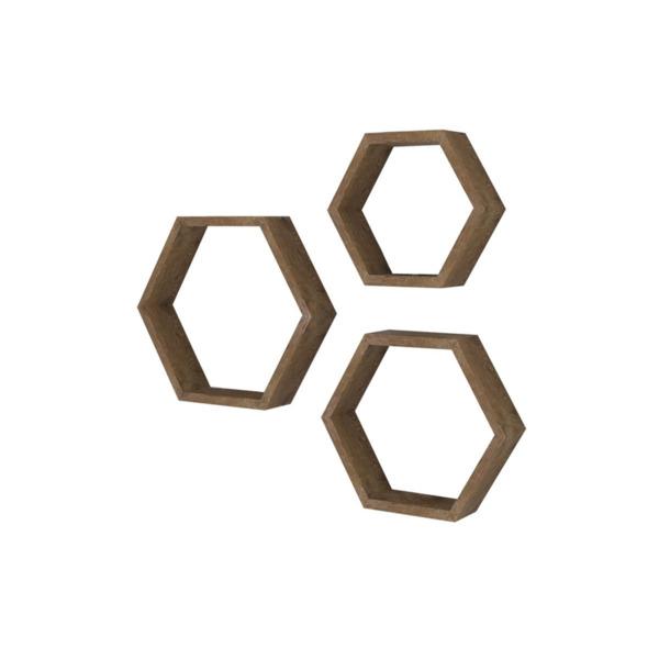 Стенен рафт Valis три части орех цвят