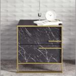Нощно шкафче PWF-0298 цвят черен мрамор-злато 50х38,5х52см
