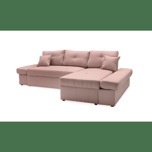 Ъглов разтегателен диван ляв ъгъл Аризон розов 270x166x86см