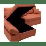 Ъглов диван легло десен ъгъл Аризон тухлен цвят  270x166x86cm