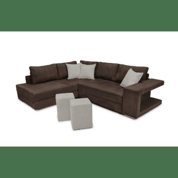 Ъглов диван-легло десен ъгъл-табуретка Karna  кафяво-бежово 278x218x85cm