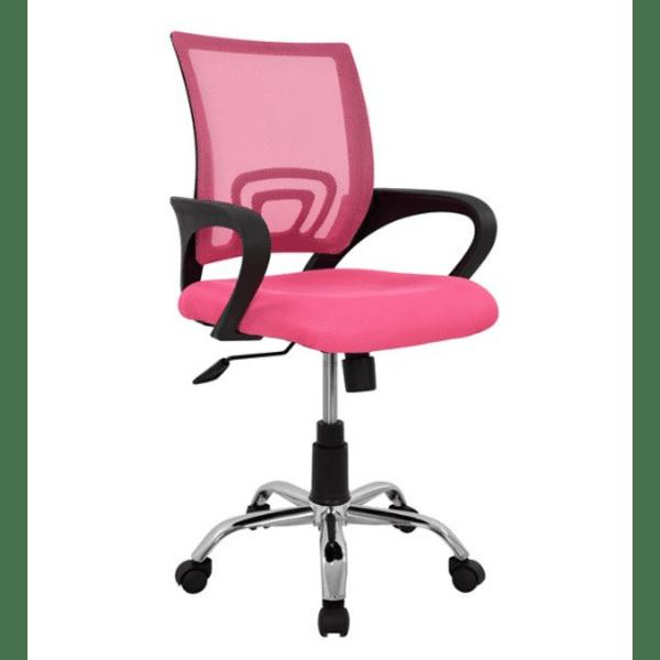 Офис стол хром Бристон-розов