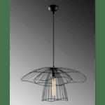 Модерна метална таванна лампа в черно  Φ50x42-123 см.