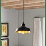 Таванна лампа Ария черен цвят Φ22x107