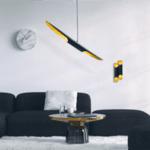 Метална таванна лампа Хели черен-златист цвят