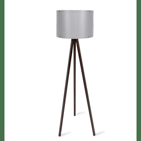 Подова лампа  крака в  орехов цвят сива PVC шапка Φ37x147см
