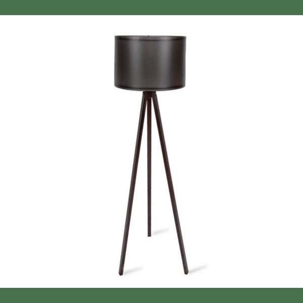 Подова лампа крака в  орехов цвят -черна PVC шапка Φ37x147см