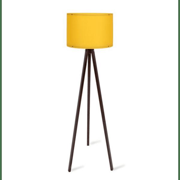 Подова лампа крака  в орехов цвят -горчица PVC шапка Φ37x147см