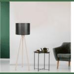 Подова лампа  крака в цвят  sonoma-черна PVC шапка Φ37x147cm