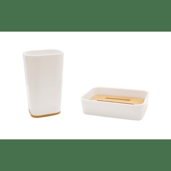 Комплект аксесоари за баня Nature 2бр бял цвят