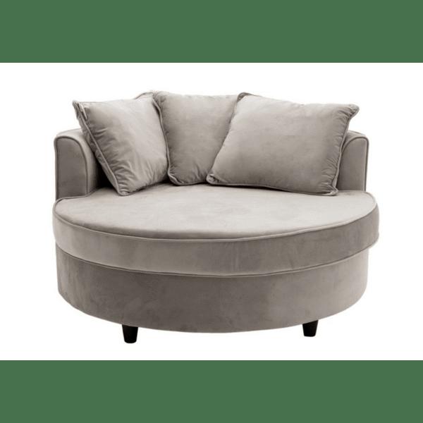 Фотьойл-диван Ophelia  кадифе сиво 123x120x85см