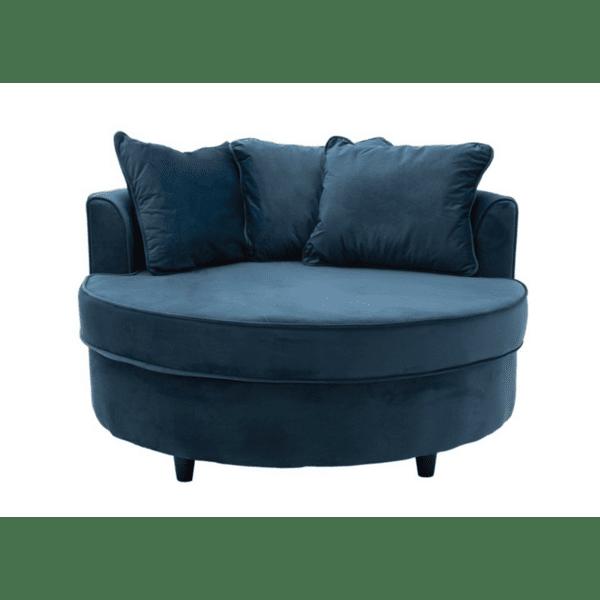 Фотьойл-диван Ophelia кадифе тъмно синьо 123x120x85см
