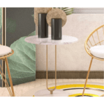 Масичка за кафе Trevor  бяло-златно Φ50x54,5см