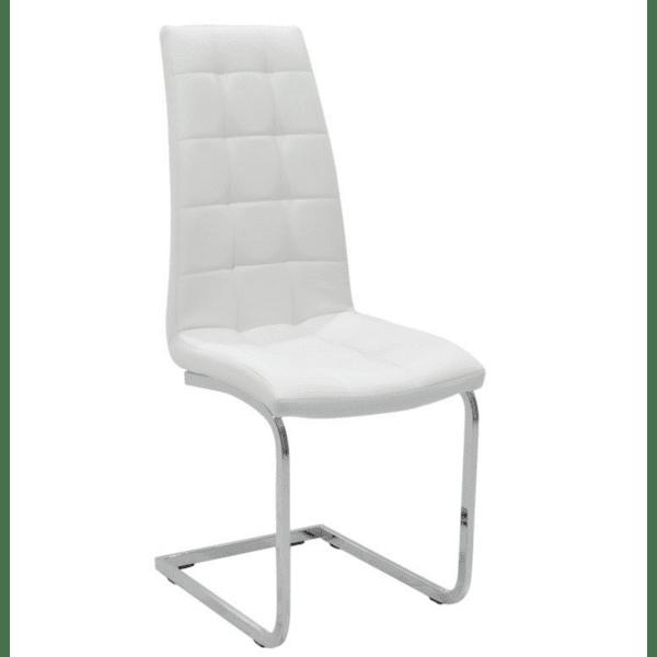 Трапезен стол Darrell  метален хром PU бял