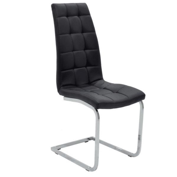 Трапезен стол Darrell метален хром PU черен