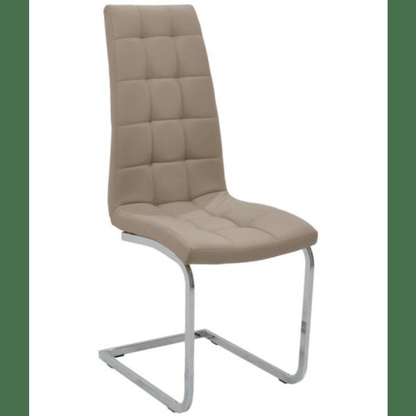 Трапезен стол Darrell метален хром PU Мока