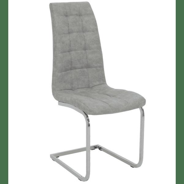 Трапезен стол  Darrell метален хром PU сив цвят