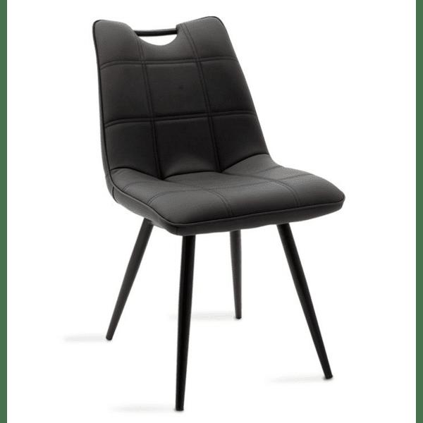 Трапезен стол Nely метал кожа черен цвят