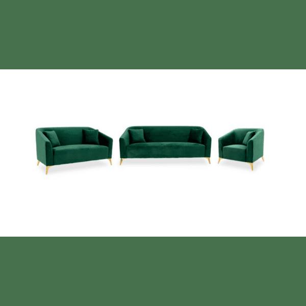 Комплект за хол 3 броя Pax  тъмно зелено кадифе