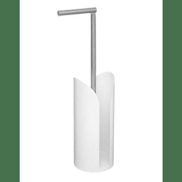Поставка за хартия за баня Obe бяла-INOX 15x15x59см