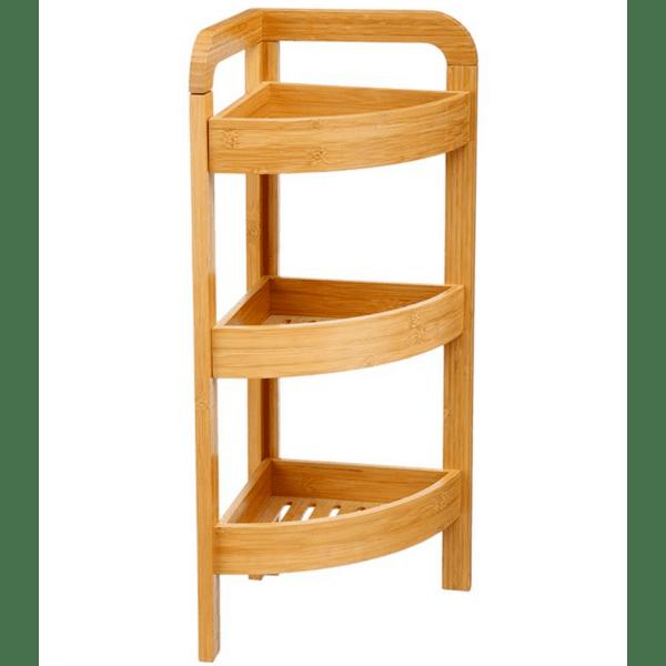 Ъглов рафт за под 3-етажен бамбук естествен 28х16х88см