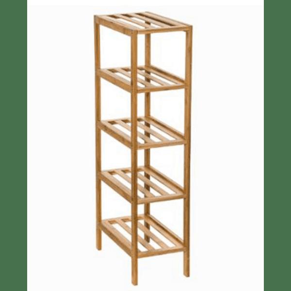 Дървен рафт 5-етажен естествен цвят 32х18,5х77,5см