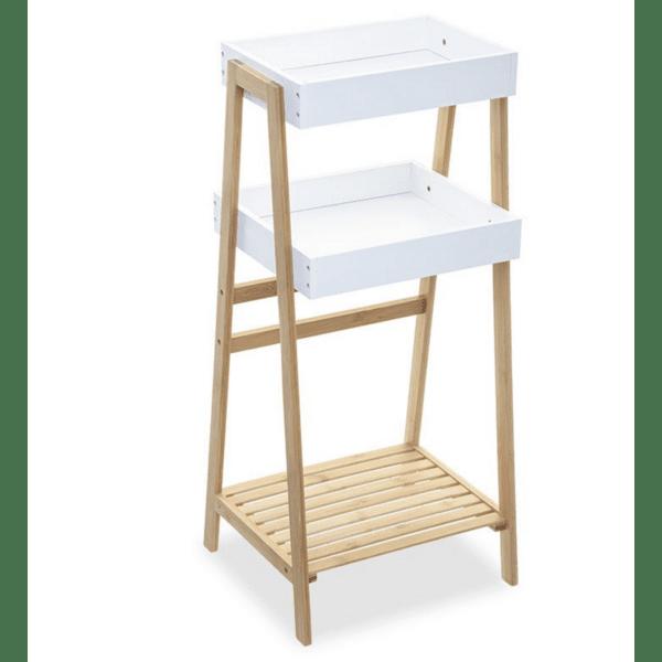 Подов рафт 3-етажен Ziggy  дървен  естествено-бял цвят 39,5х35,5х88,5см