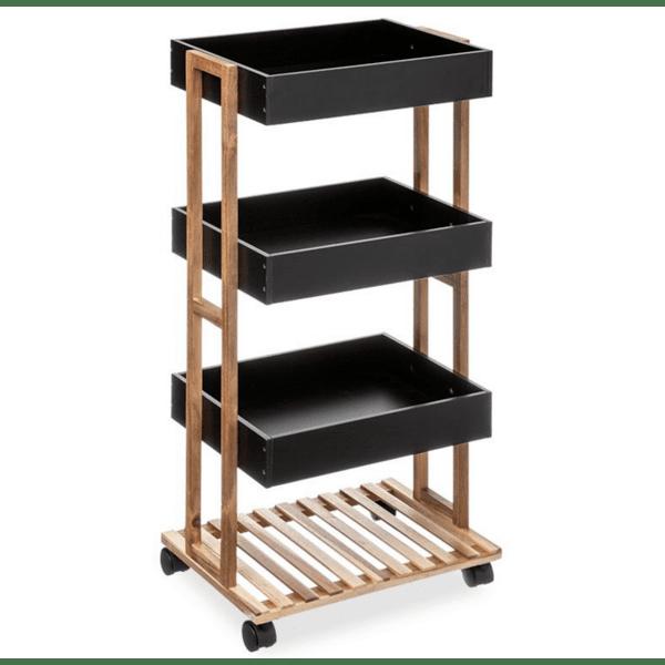 Рафт-количка  4-етажна Irene дървен  естествен-черен цвят  41x30x88cm