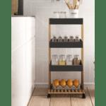 Количка-рафт 4-етажна Irene дървен  естествен-черен цвят  41x30x88cm