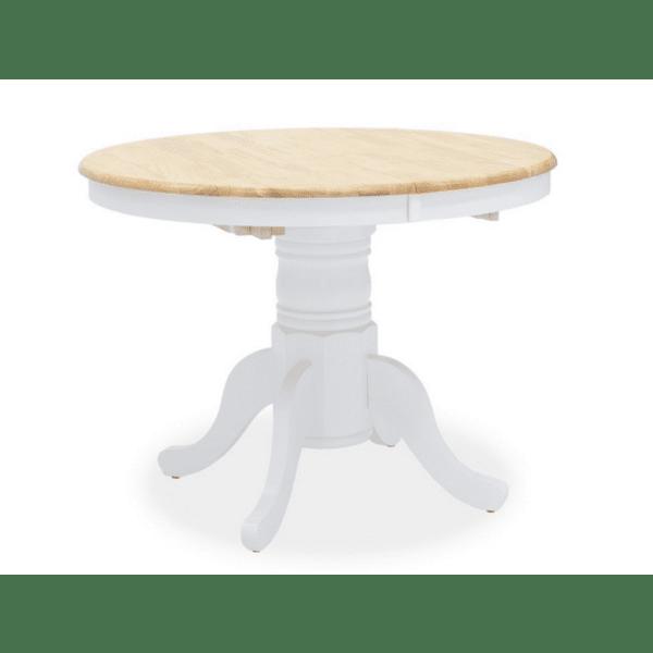 Трапезна маса Lars дърво-MDF бял-естествен цвят Φ100 (+38) x100x75cm