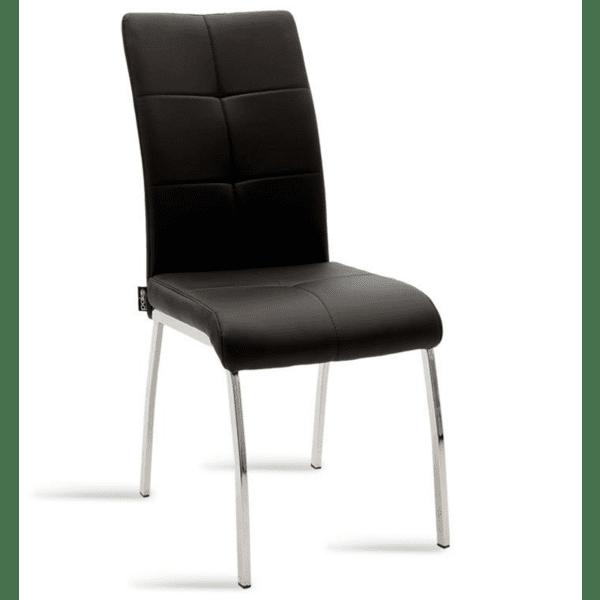 Трапезен стол Ariadne метален стол хром кожа черен