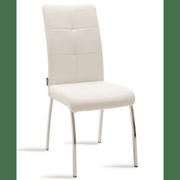 Трапезен стол Ariadne метален стол хром бяла кожа