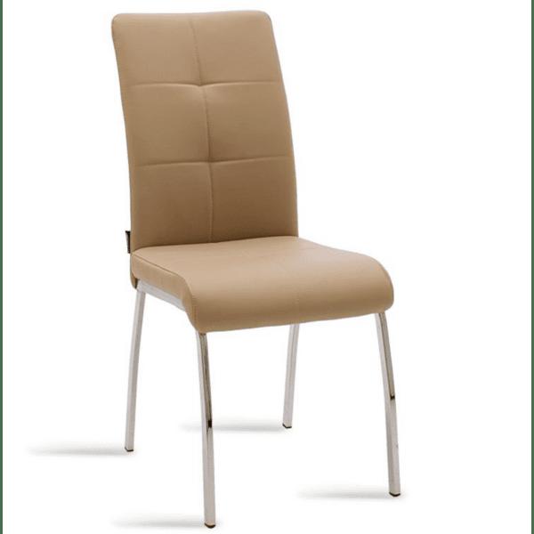 Трапезен стол Ariadne метален стол хром мока цвят