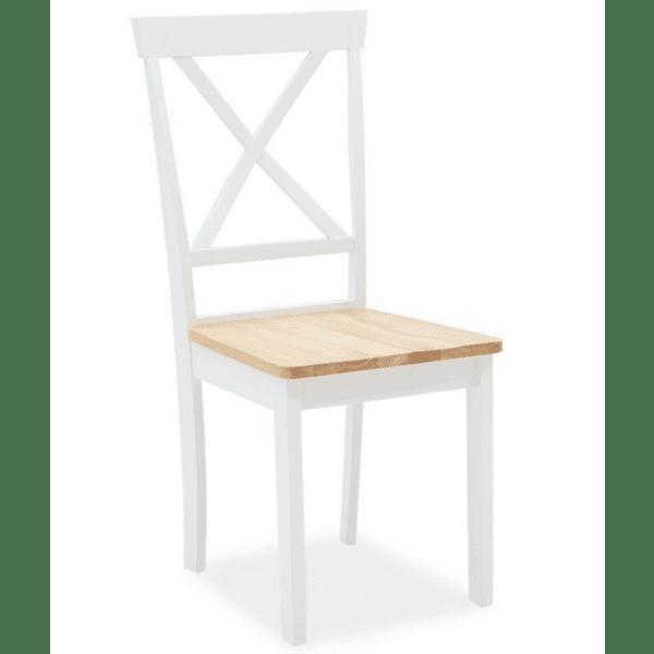 Трапезен стол Lars дърво-мдф бял-естествен цвят
