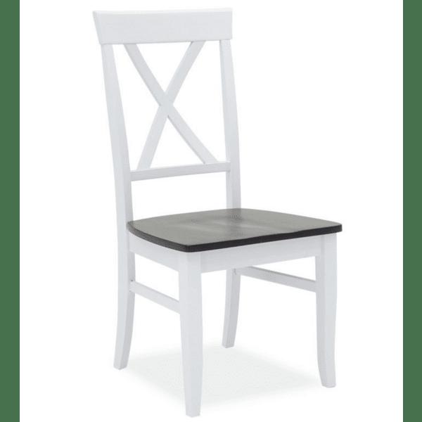 Трапезен стол Hug дърво-мдф бял-орех