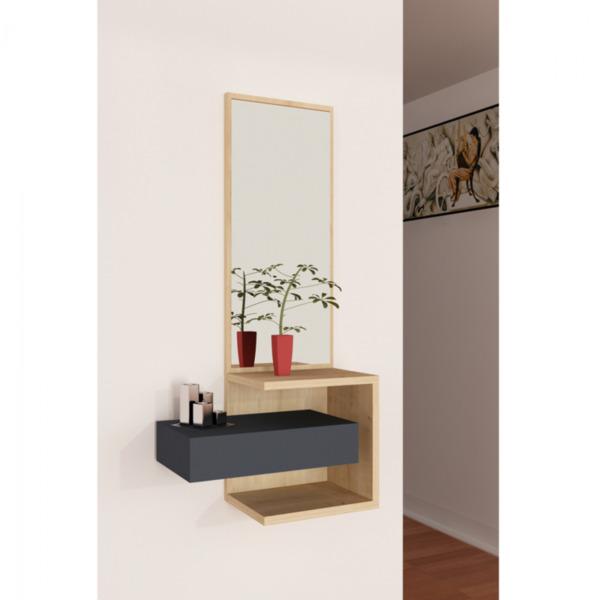 Шкаф за антре с огледало антрацит/натурал