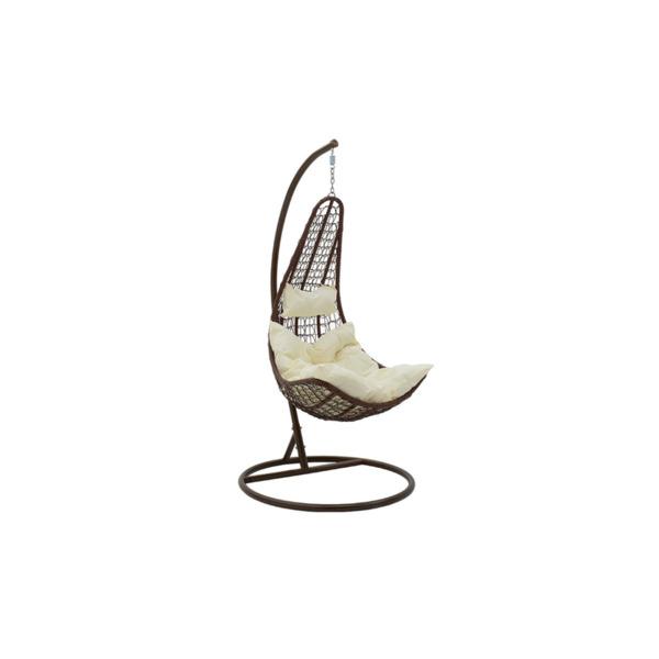 Градинска люлка Soleil  висяща метална -кафява възглавница /кафяво-бежово
