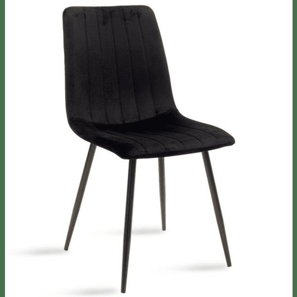 Трапезен стол Noor кадифе в черен цвят