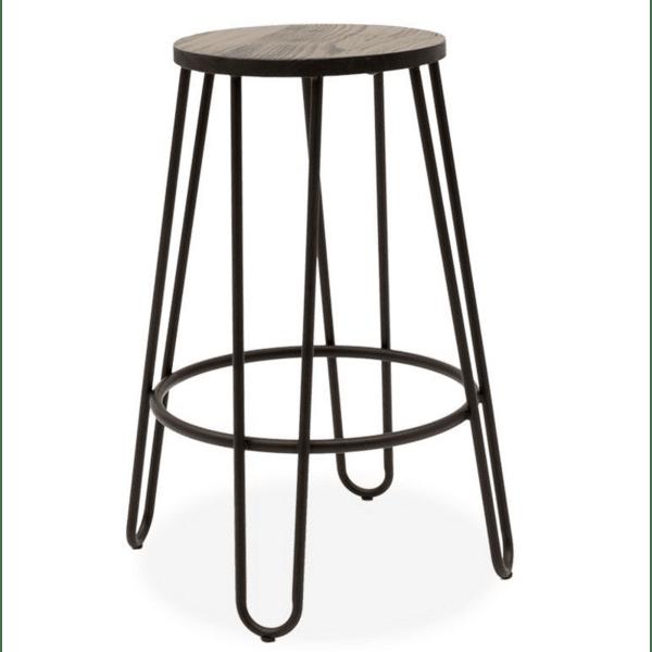 Бар стол Sharps метал-дърво цвят черен-орех