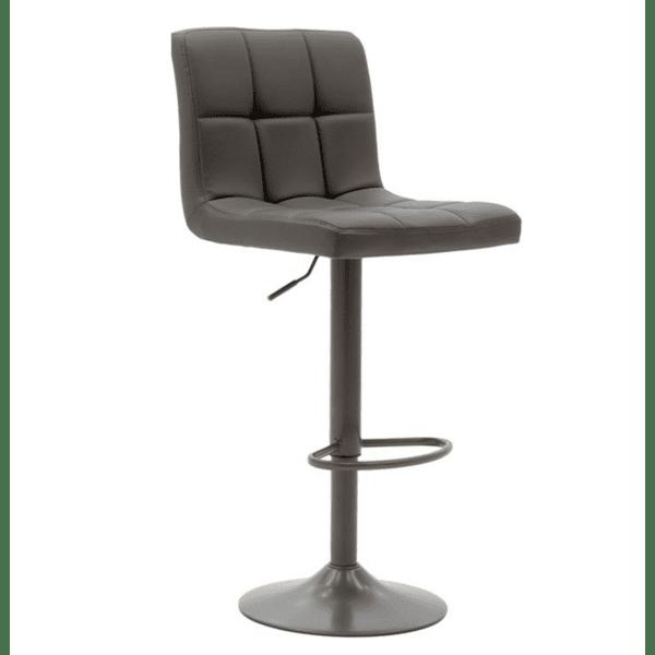Бар стол Remina  метално сив матов с PU сив цвят