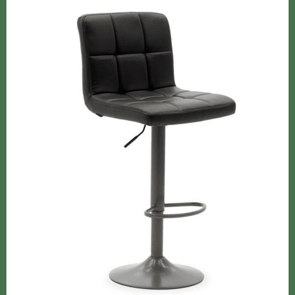 Бар стол Remina метално сив мат с PU цвят черен